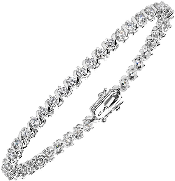 The Men's Jewelry Store (for HER) White CZ Tennis Bracelet, Rhodium Plated Sterling Silver, 7.25""
