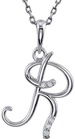 "5-Stone Diamond Letter 'R' Initial Sterling Silver Pendant Necklace, 18"" (.03 Cttw, GH, I2)"