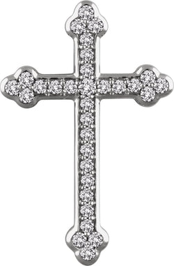Diamond Botonée Cross Rhodium-Plated 14k White Gold Pendant (.5 Ctw, H+ Color, I1 Clarity)