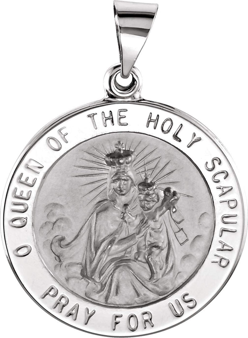 14k White Gold Round Hollow Scapular Medal (14.75 MM)