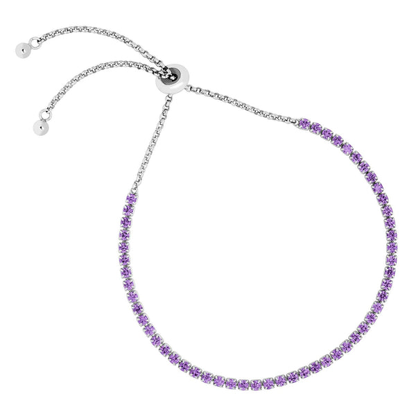 Petite Amethyst CZ Adjustable Rhodium Plated Sterling Silver Bracelet