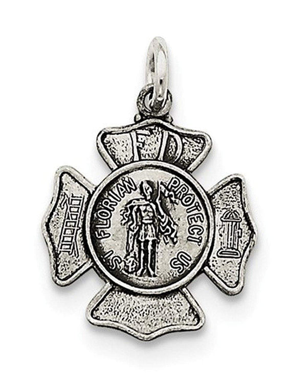 Sterling Silver Saint Florian Badge Medal Charm Pendant (25X15 MM)