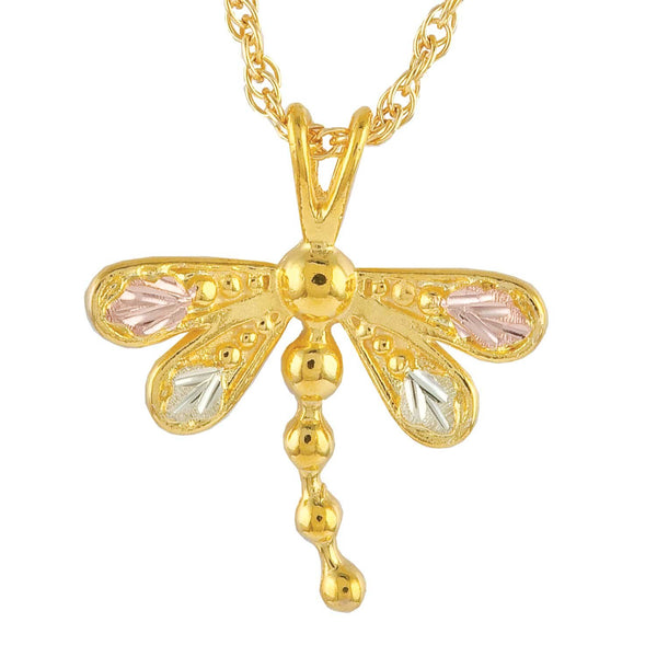 Petite Dragonfly Pendant Necklace, 10k Yellow Gold, 12k Green and Rose Gold Black Hills Gold Motif, 18""