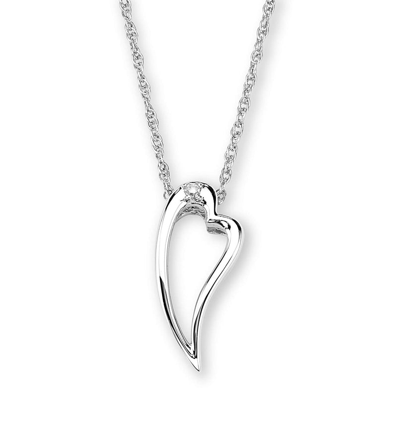 "Diamond Heart Silhouette Pendant Necklace,Rhodium Plated Sterling Silver, 18"" (.015 Ct)"