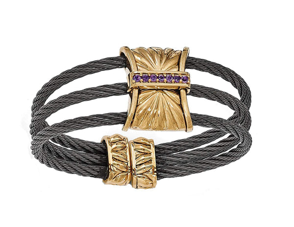 "Throne Collection Gray Titanium, Bronze Amethyst Cable Link Cuff Bangle 12mm Bracelet, 6"" (12MM)"