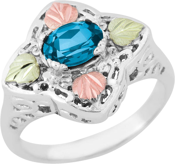 Oval Blue Topaz Quatrefoil Ring, Sterling Silver, 12k Green and Rose Gold Black Hills Gold Motif, Size 8.5