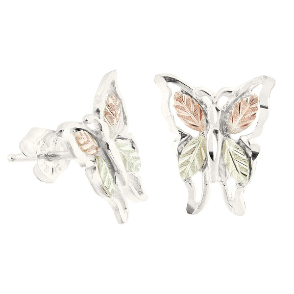 Tri-Tone Butterfly Earrings, Sterling Silver, 12k Green Gold, 12k Rose Gold Black Hills Gold