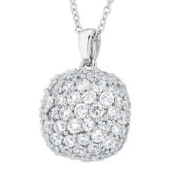Pave CZ Soft Square Pendant Necklace, Rhodium Plated Sterling Silver, 18""