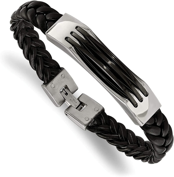 Men's Black Braided Leather Acrylic 10mm Stainless Steel Fold-Over Clasp Bracelet, 8.5 Inches