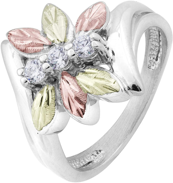 Rhodium-Plated Sterling Silver Six Leaf CZ Dragonfly Bypass Ring, 12k Rose and Green Gold Black Hills Gold