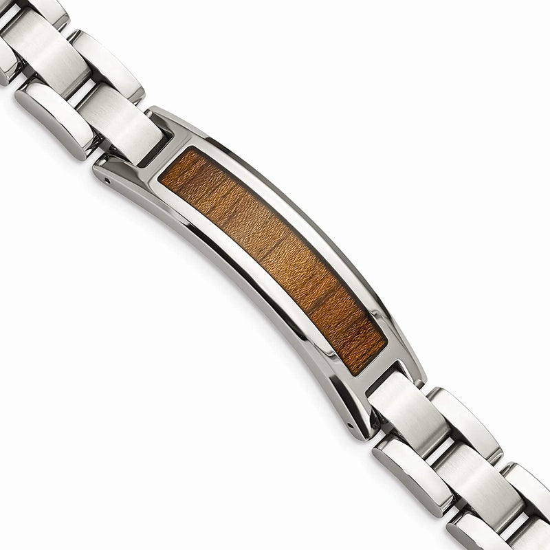 Men's Brushed Stainless Steel 12mm Wood Inlay Enameled Bracelet, 8.5 Inches