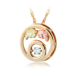 "Diamond Circle Pendant Necklace, 10k Yellow Gold, 12k Green and Rose Gold Black Hills Gold Motif, 18"" (0.1 Ct)"
