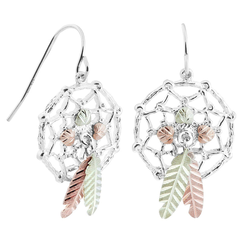 Dream Catcher Feather Earrings, Sterling Silver, 12k Green Gold, 12k Rose Gold Black Hills Gold