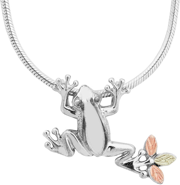 Frog Slider with Snake Chain Pendant Necklace, Sterling Silver, 12k Green and Rose Gold Black Hills Gold Motif, 20""
