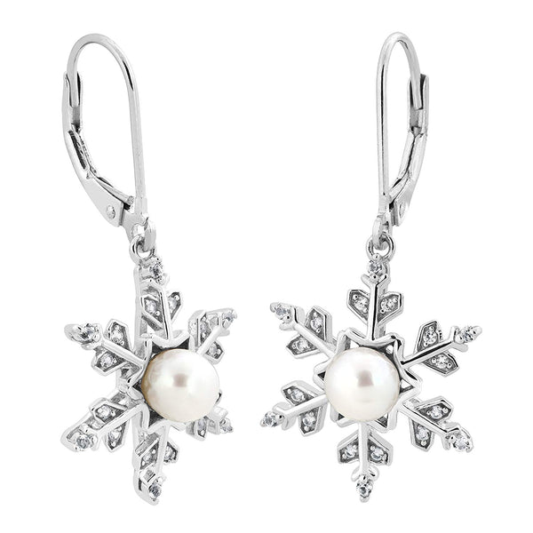 White Freshwater Cultured Pearl and CZ Snowflake Earrings, Rhodium Plated Sterling Silver (5-5.5 MM)