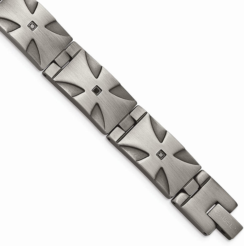 Men's Matte Stainless Steel Black Diamond Iron Cross Link Bracelet, 8.5 Inches (.10 Ctw)