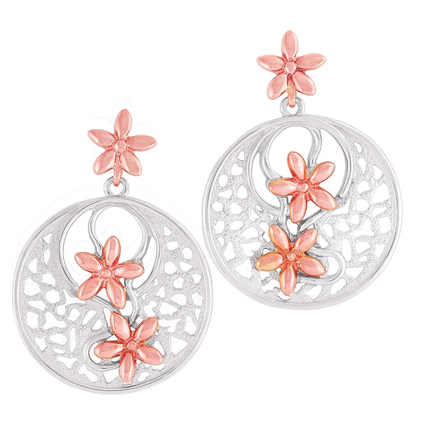 10k Rose Petal Flower Rhodium Plated Sterling Silver Earrings