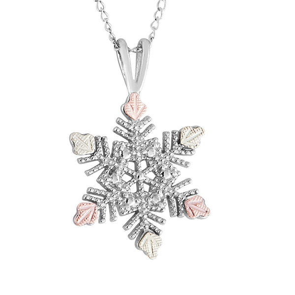 Granulated Bead Snowflake Pendant Necklace, Sterling Silver, 12k Green and Rose Gold Black Hills Gold Motif, 18""