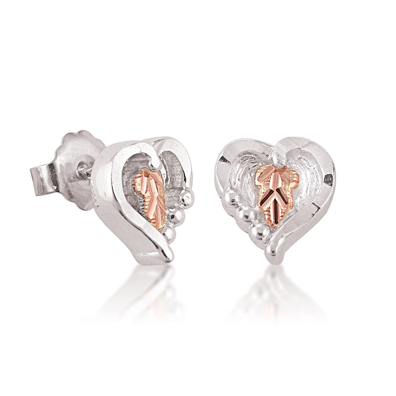 and Bead Heart Earrings, Sterling Silver, 12k Rose Gold Black Hills Gold Motif