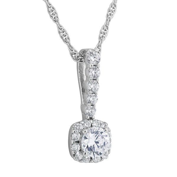 CZ Halo Pendant Necklace, Rhodium Plated Sterling Silver, 18""