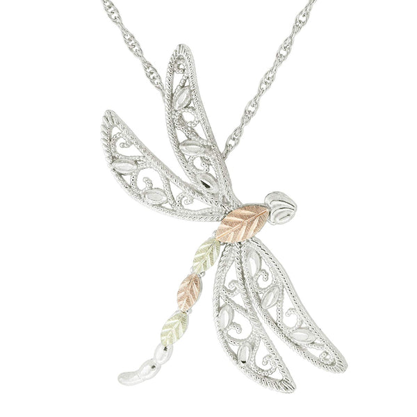 Filigree Dragonfly Pendant Necklace, Sterling Silver, 12k Green Gold, 12k Rose Gold Black Hills Gold, 18''