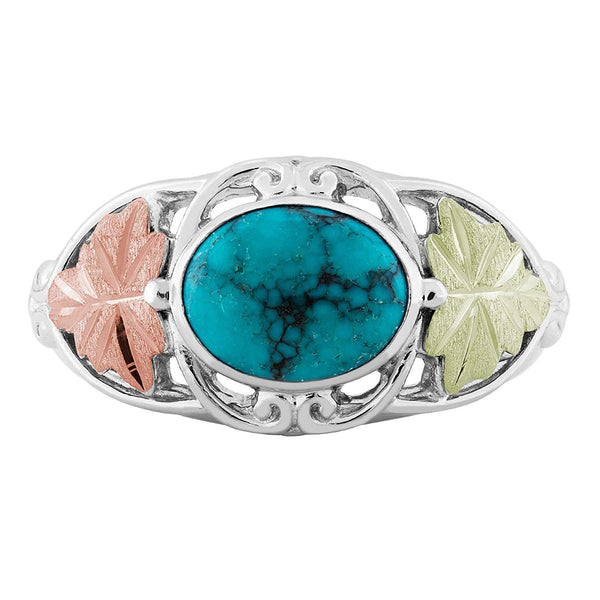 Inlaid Oval Turquoise with Leaves Ring, Sterling Silver, 12k Green and Rose Gold Black Hills Gold Motif