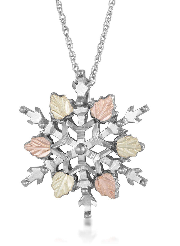 Diamond-Cut Snow Flake Pendant, Sterling Silver, 12k Green and Rose Gold Black Hills Gold Motif, 18""