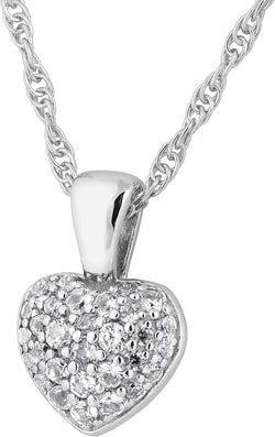 The Men's Jewelry Store (for HER) Pave CZ Heart Pendant Necklace, Rhodium Plated Sterling Silver, 18""