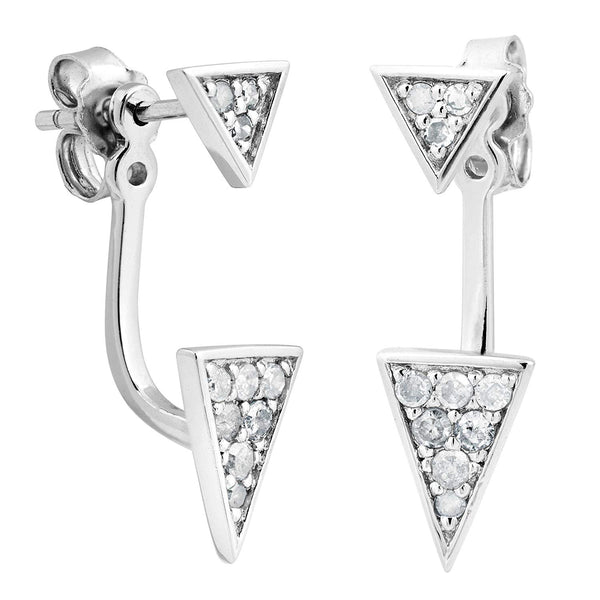 Graduated Diamond Adjustable Hugging Jackets Earrings, Rhodium Plated Sterling Silver