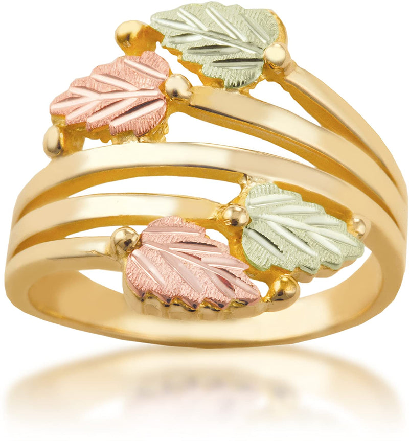 Layered Vines Bypass Leaves Ring, 10k Yellow Gold, 12k Green and Rose Gold Black Hills Gold Motif, Size 9.25