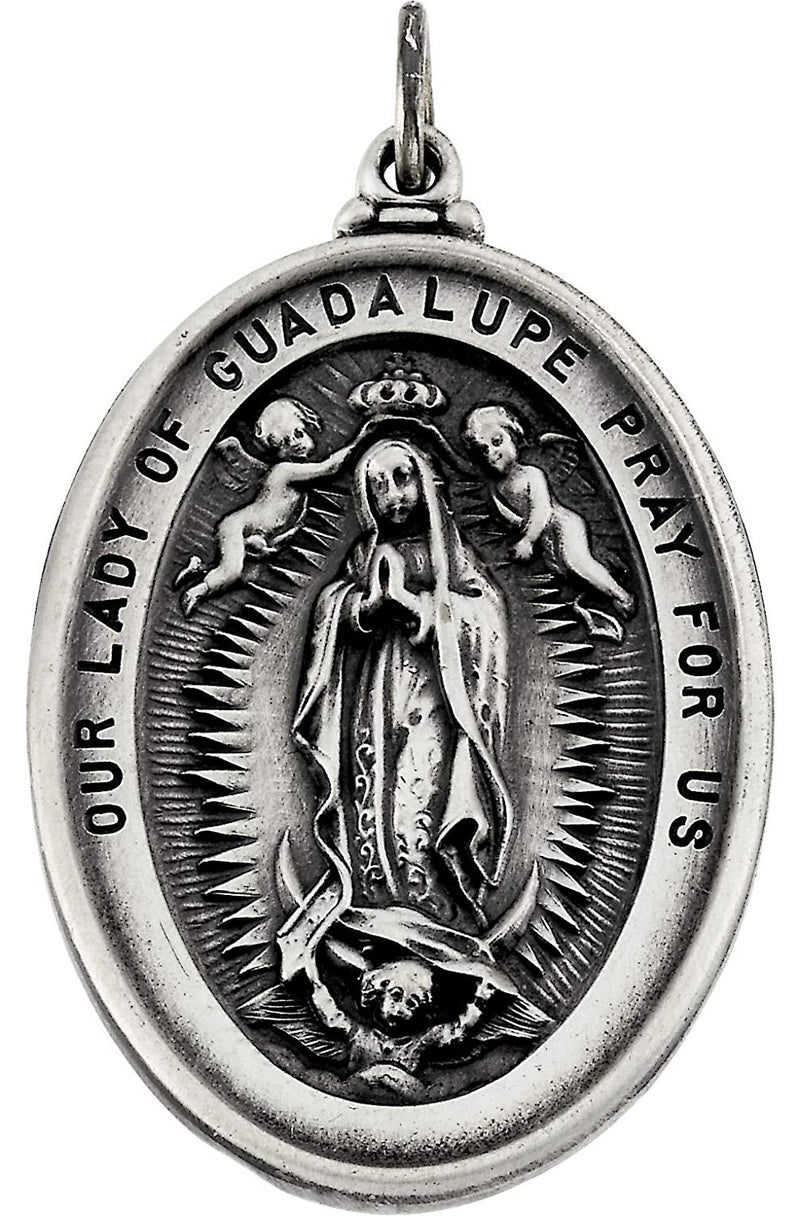 Sterling Silver Our Lady Of Guadalupe Medal (34.25x25.75 MM)