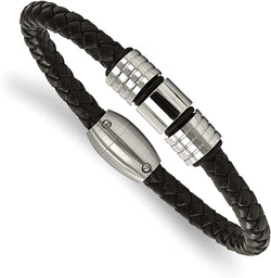 Men's Black Braided Leather 6.75mm Stainless Steel Accents Bracelet, 8.5 Inches