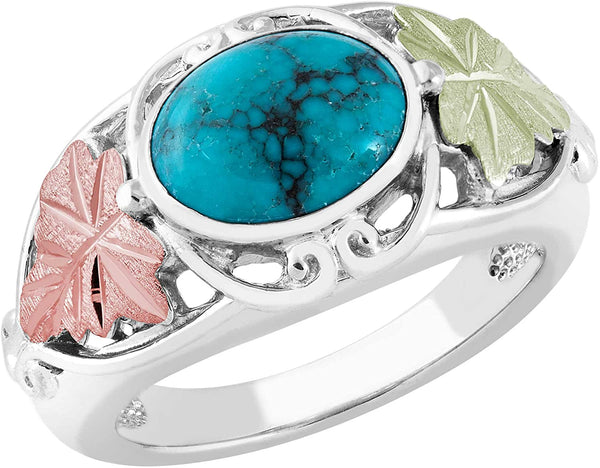 Inlaid Oval Turquoise with Leaves Ring, Sterling Silver, 12k Green and Rose Gold Black Hills Gold Motif, Size 4.25
