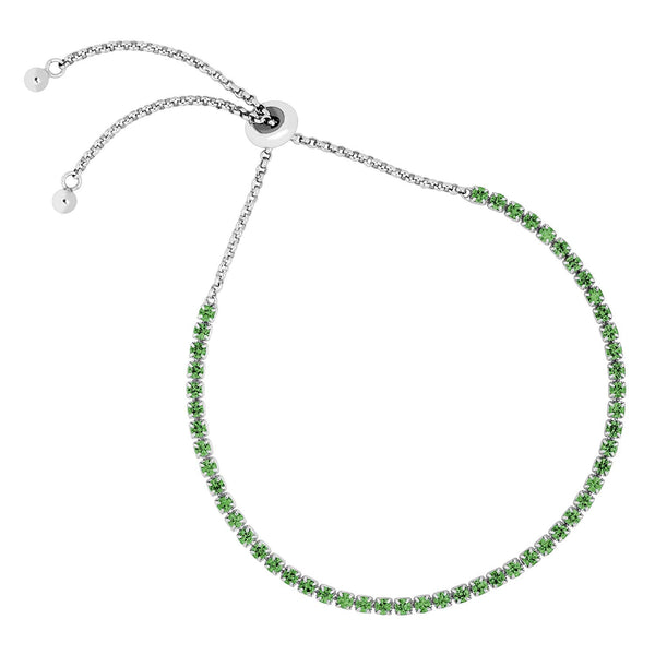 Petite Emerald CZ Adjustable Rhodium Plated Sterling Silver Bracelet