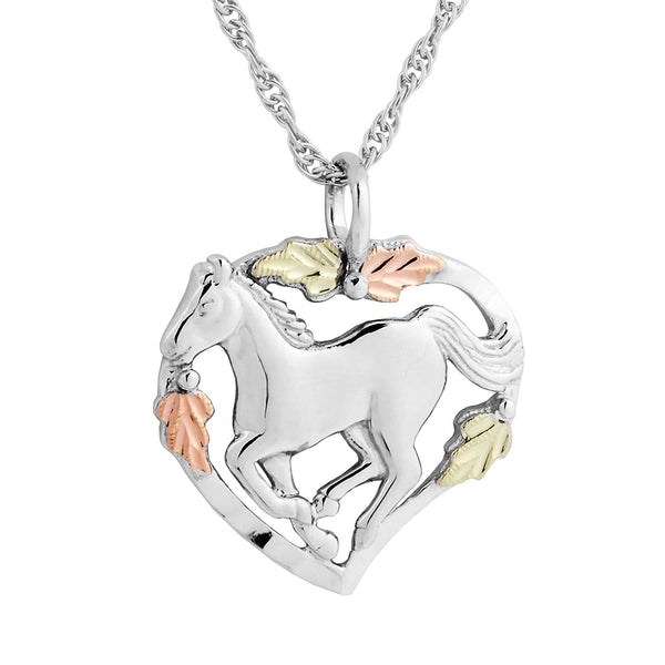 Horse in Heart Pendant Necklace, Sterling Silver, 12k Green and Rose Gold Black Hills Gold Motif, 18""