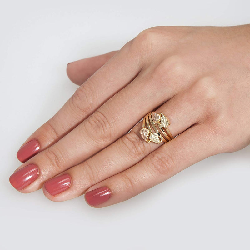 Layered Vines Bypass Leaves Ring, 10k Yellow Gold, 12k Green and Rose Gold Black Hills Gold Motif, Size 6.25
