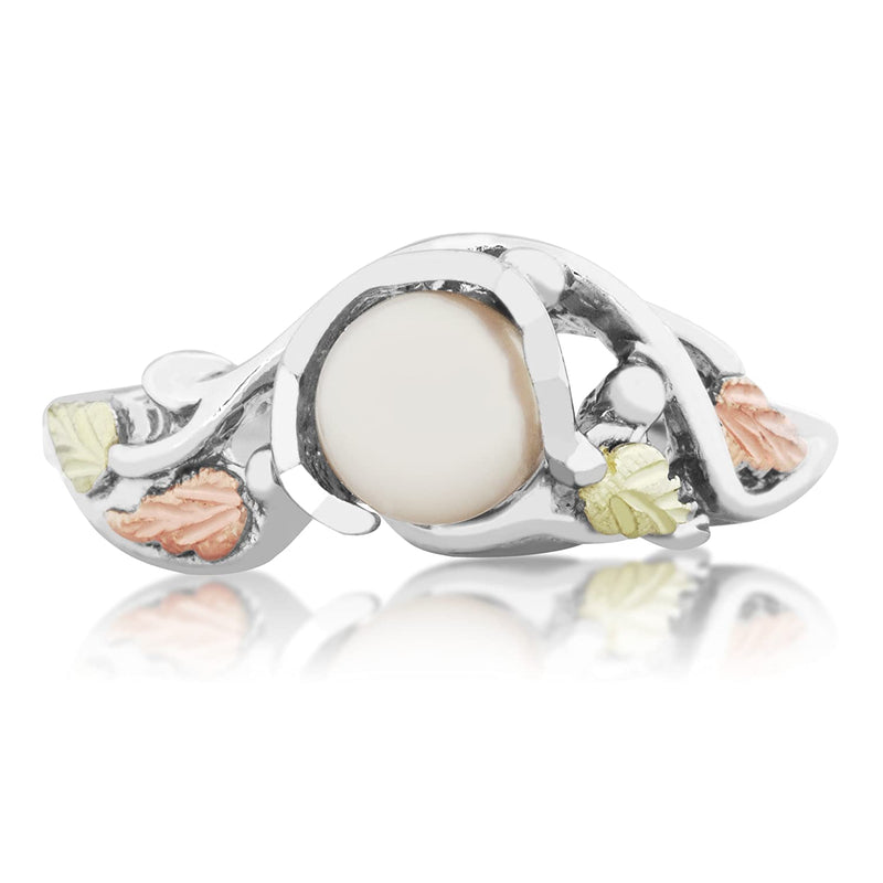 White Freshwater Cultured Pearl Grape Leaf Ring, Sterling Silver, 12k Green and Rose Gold Black Hills Gold Motif (5.00 MM)