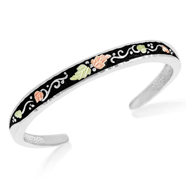 Petite Antique Bangle Bracelet; Sterling Silver, 12k Green and Rose Gold Black Hills Gold Motif