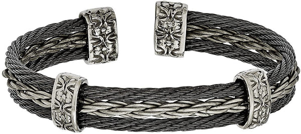 Men's Brushed Matte 6/4 Titanium and Black Titanium Memory Cable Triple Strand Cuff Bracelet, 7""