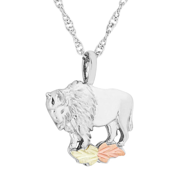 Engraved Buffalo Pendant Necklace, Sterling Silver, 12k Green and Rose Gold Black Hills Gold Motif, 18""