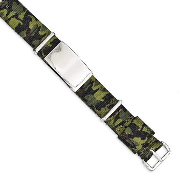Men's Stainless Steel Green Camo Fabric Band Adjustable ID Bracelet, 10 Inches