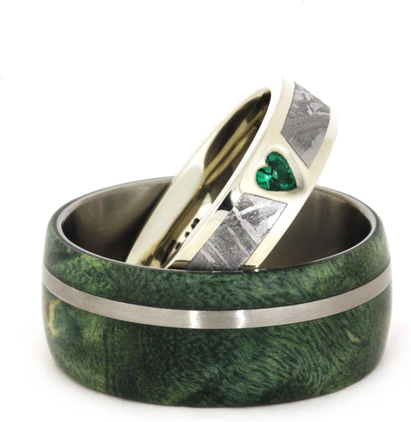 Created Emerald, Gibeon Meteorite 14k White Gold Ring and Green Box Elder Burl Wood Titanium Band, Couples Ring Set, M12.5-F7.5