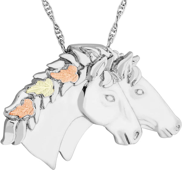 Double Horse Head Pendant Necklace, Sterling Silver, 12k Green and Rose Gold Black Hills Gold Motif, 20""