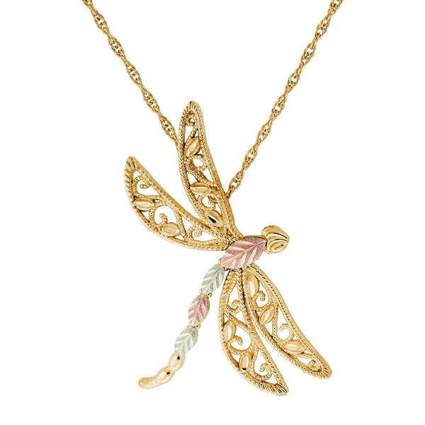 Filigree Dragonfly Pendant, 10k Yellow Gold, 12k Green Gold, 12k Rose Gold Black Hills Gold