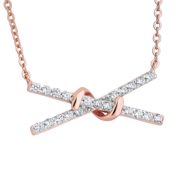 X-Bar CZ PNecklace, Rose Gold Plated Sterling Silver, 18""