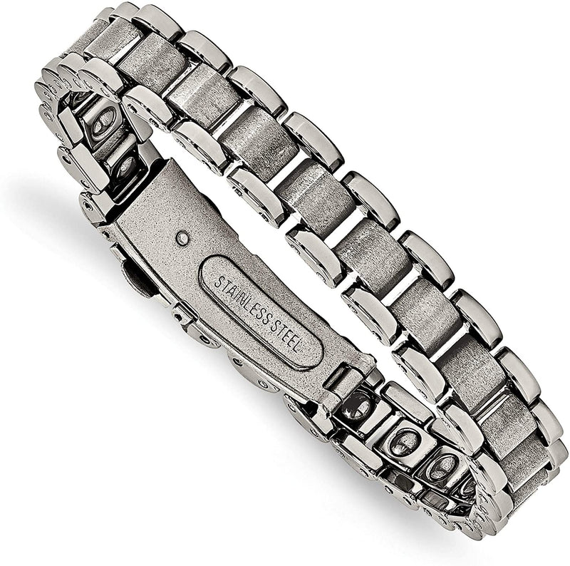 Men's Polished and Matte Grey Tungsten Bracelet, 8.5 Inches