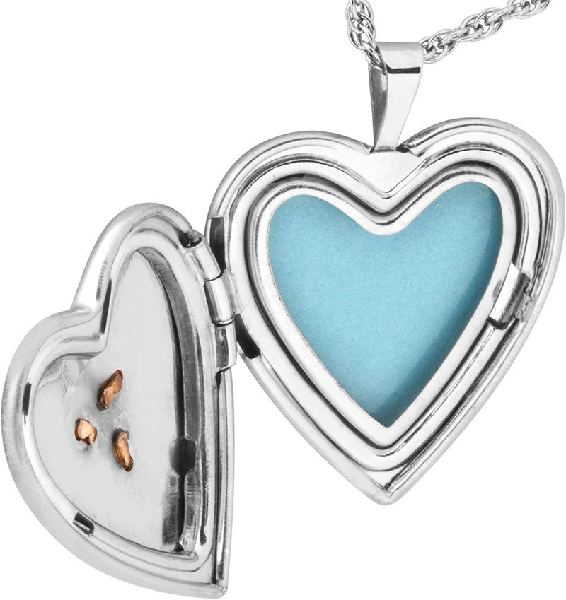 Small Heart Locket Pendant Necklace, Sterling Silver, 12k Green and Rose Gold Black Hills Gold Motif, 18""