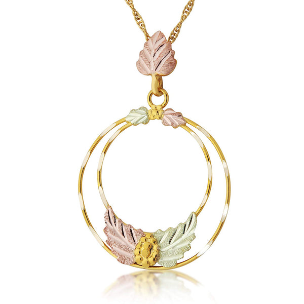 Double Circle Pendant Necklace, 10k Yellow Gold, 12k Green and Rose Gold Black Hills Gold Motif, 18""