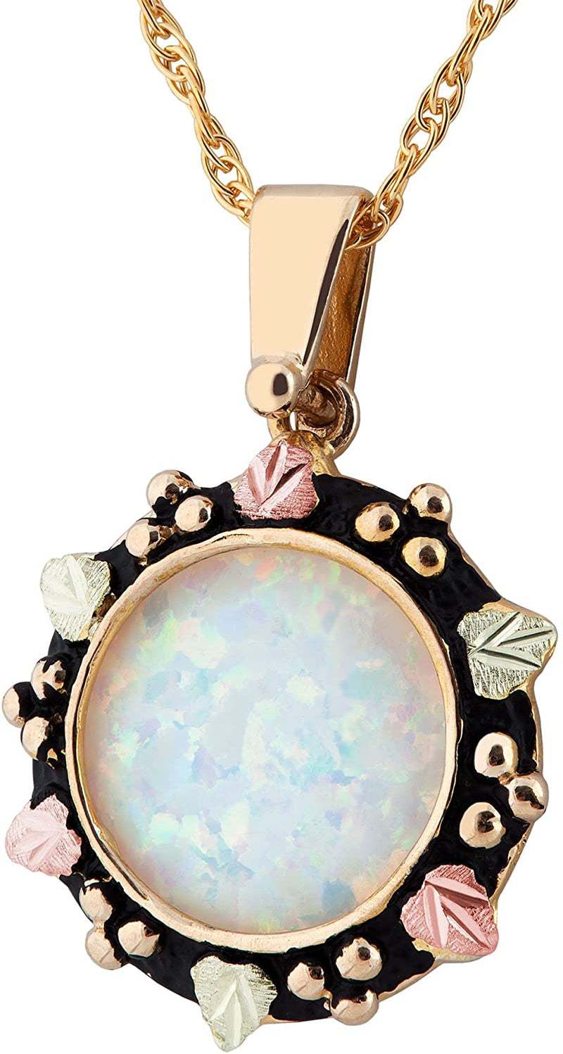 Inlaid Lab Created Opal Pendant Necklace, 10k Yellow Gold, 12k Green and Rose Gold Black Hills Gold Motif, 18""