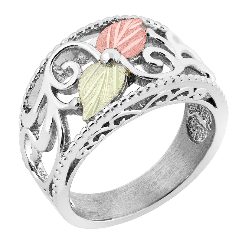 Granulated Bead Border, Scrollwork Ring, Sterling Silver, 12k Green and Rose Gold Black Hills Gold Motif, Size 6.25